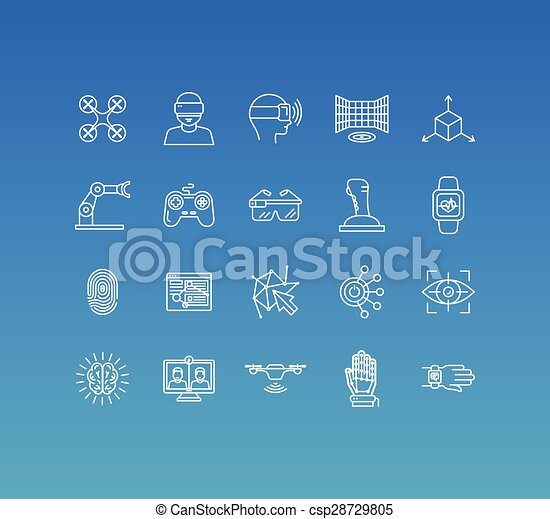 Vector set of 20 icons and sign in mono line style  - csp28729805