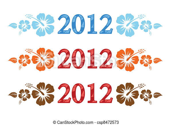 Vector set of 2012 text with hibiscus - csp8472573