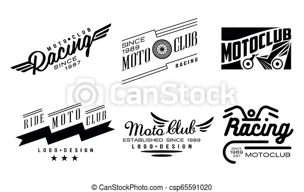 ed4dbd1bb45 Vector set of 6 vintage logos for moto club. Original monochrome badges  with wings and