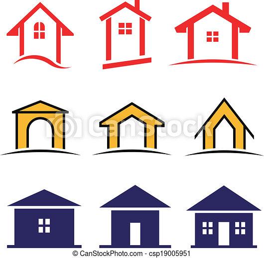 Vector set of 9 house icon family  - csp19005951