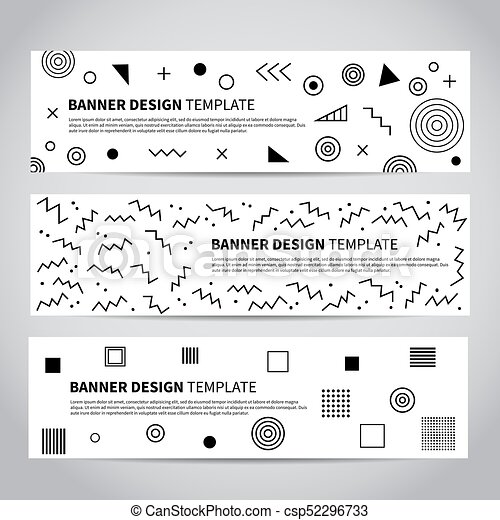 Vector set of abstract memphis style retro banners - csp52296733