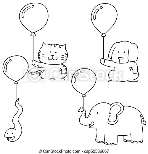 vector set of animal with balloon - csp52536667