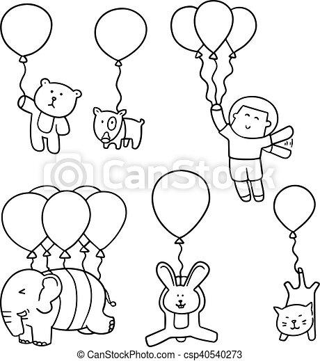 vector set of animal with balloon - csp40540273