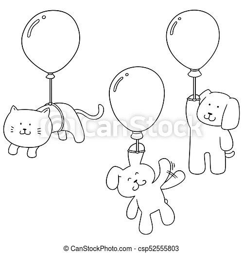 vector set of animal with balloon - csp52555803