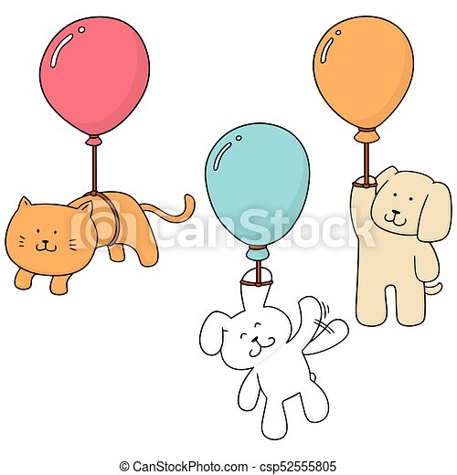vector set of animal with balloon - csp52555805