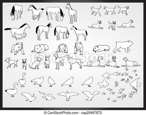 vector set of animals background - csp20497872