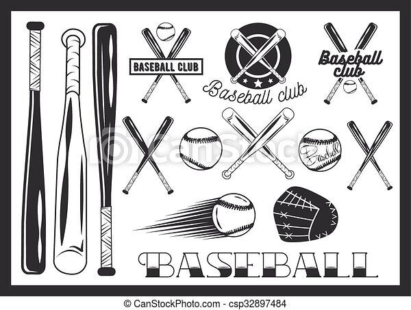 Vector Set Of Baseball Club Emblem Label Badges Logo And Design Elements Sport Icons In Vintage