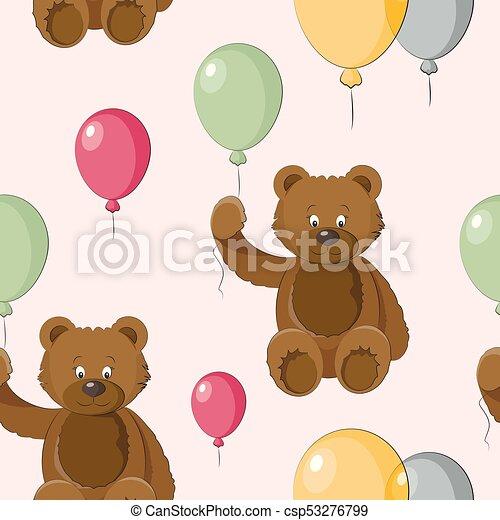 Vector Set of bear icon pattern - csp53276799