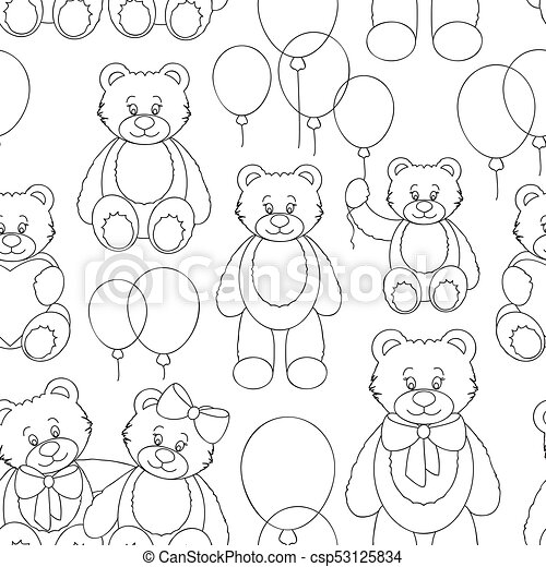 Vector Set of bear icon pattern - csp53125834