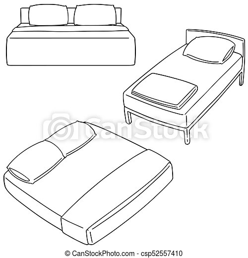 vector set of bed - csp52557410