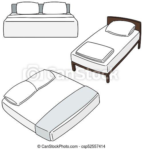 vector set of bed - csp52557414