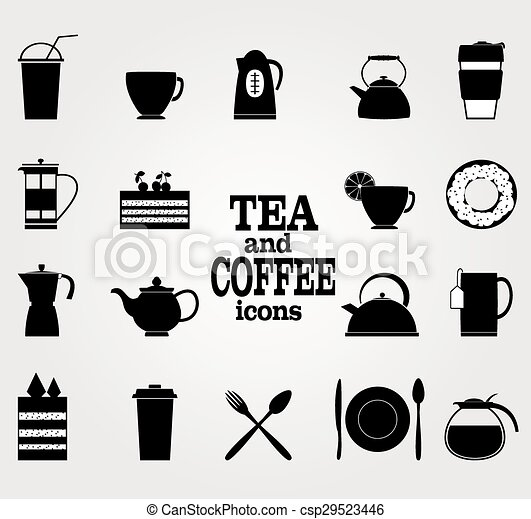 Vector Set of Black Coffee and Tea Icons. - csp29523446