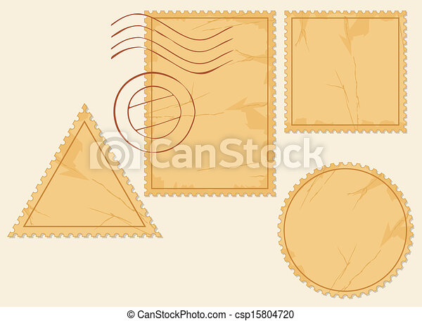 vector set of blank postage stamps - csp15804720