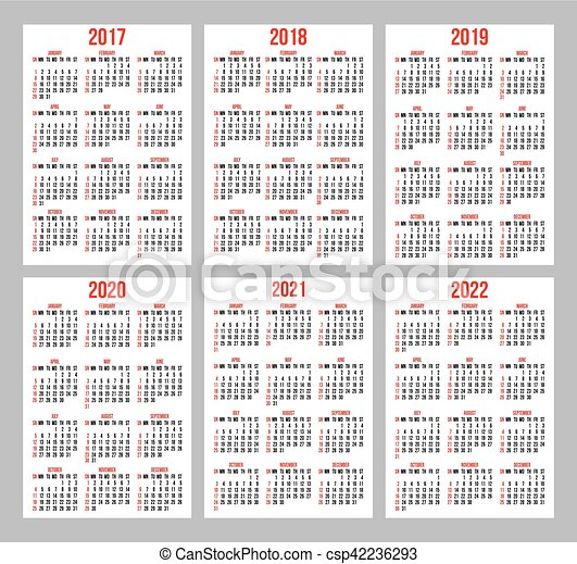 vector set of calendar grid for years 2017-2022 for business cards on white background - csp42236293