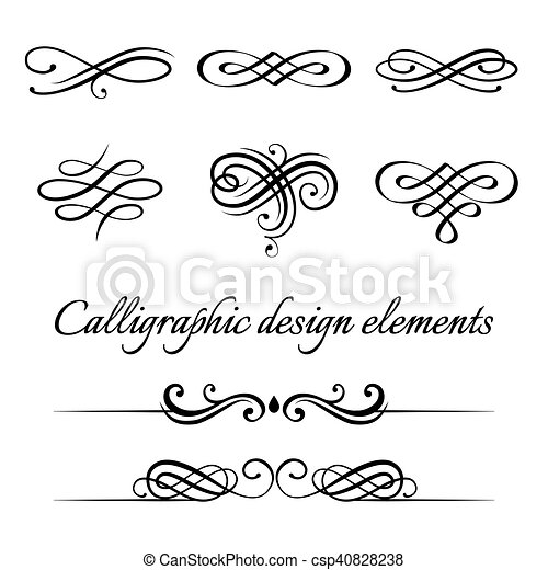 Vector Set Of Calligraphic And Page Decoration Design Elements Elegant Collection Hand Drawn Swirls Curles For Your