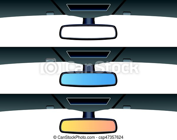 vector set of car rear view mirrors - csp47357624