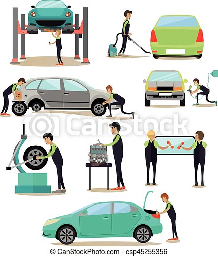 vector set of car service auto repair shop workers icons vector
