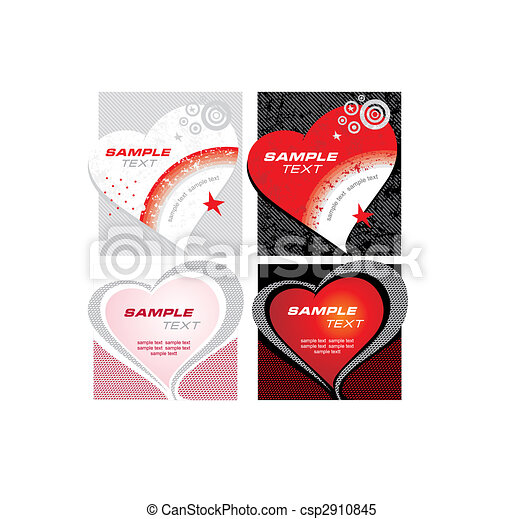 vector set of cards with heart - csp2910845