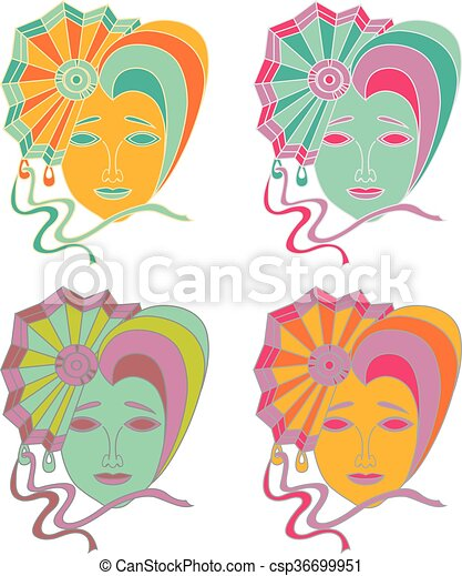Vector set of carnival mask on a white background - csp36699951