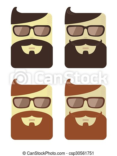 Vector set of cartoon male faces  - csp30561751
