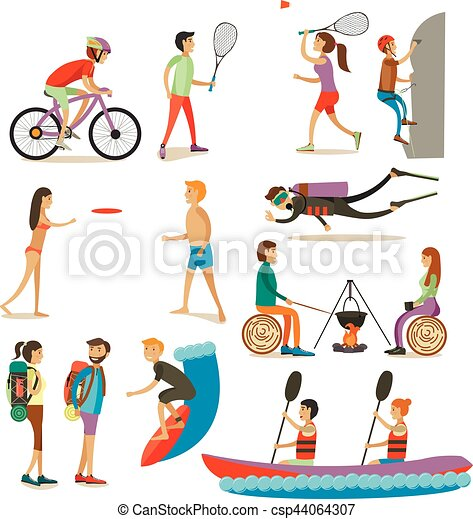 Vector Set Of Characters Summer Outdoor Activities Concept Design Elements Icons Isolated On White Background Flat Style