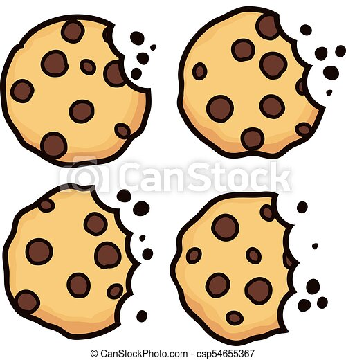 vector set of chocolate chip bitten cookies isolated on clip art rh canstockphoto com