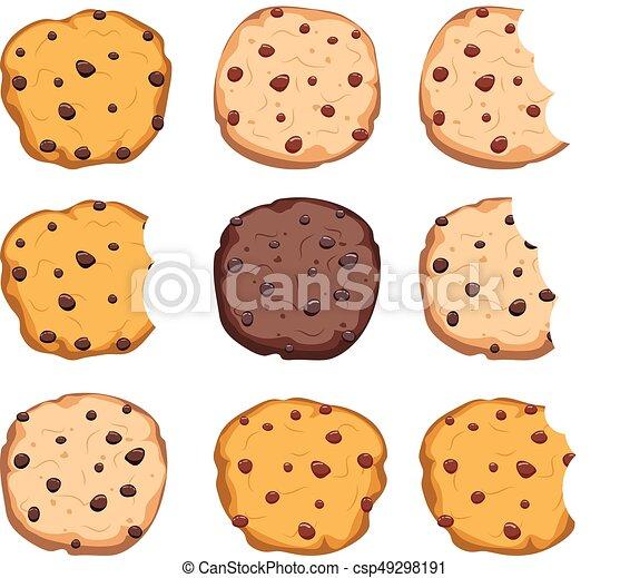 vector set of chocolate chip cookies - csp49298191