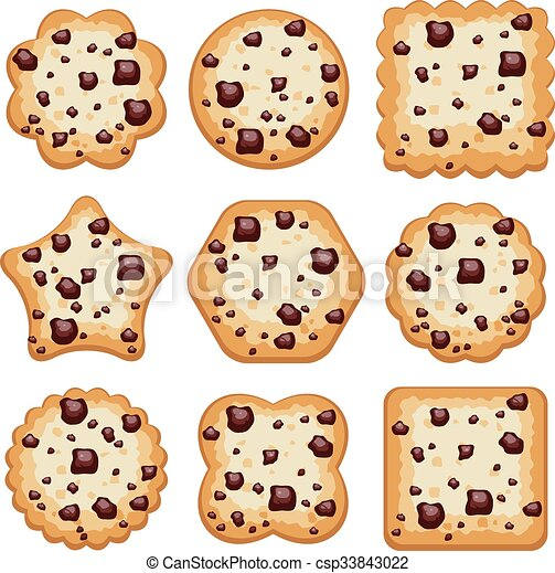 vector set of chocolate chip cookies of different shapes - csp33843022