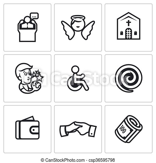 Vector Set of Church and Faith Icons. Pastor, Angel, Sanctuary, Prayer, Disabled, Hypnosis, Purse, Help, Charity. - csp36595798