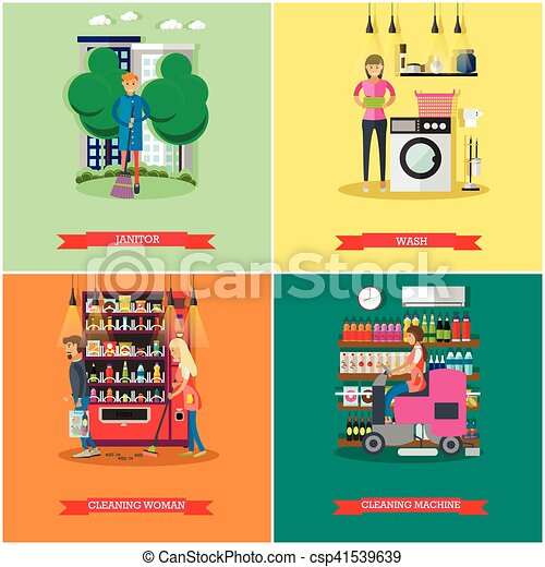 Vector set of cleaning service concept banners - csp41539639