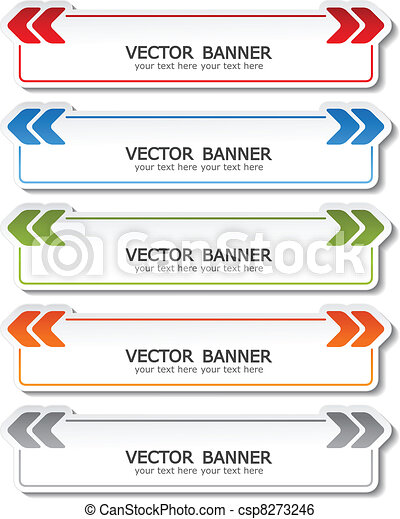 vector set of color banners with arrows - csp8273246