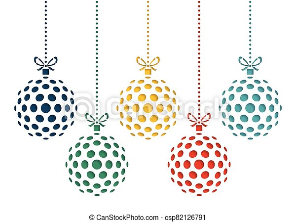 Vector set of color christmas balls drawn by dots. Template for laser cutting. Greeting card for new year celebration. Christmas card. - csp82126791