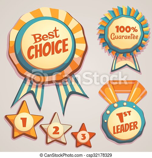 Vector set of colored brightly badges - csp32178329