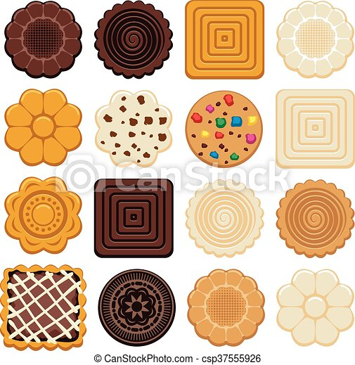vector set of colorful chocolate and biscuit chip cookies - csp37555926