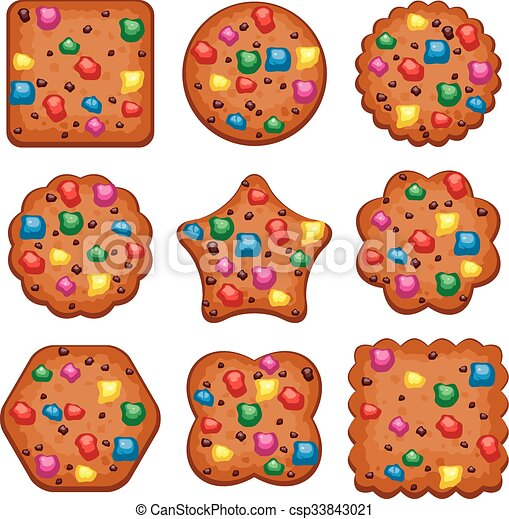 vector set of colorful chocolate chip cookies of different shapes - csp33843021