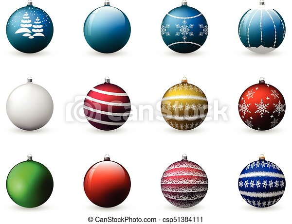 Colorful Christmas Balls.Vector Set Of Colorful Christmas Balls Decoration For Holiday Design Isolated On White Background