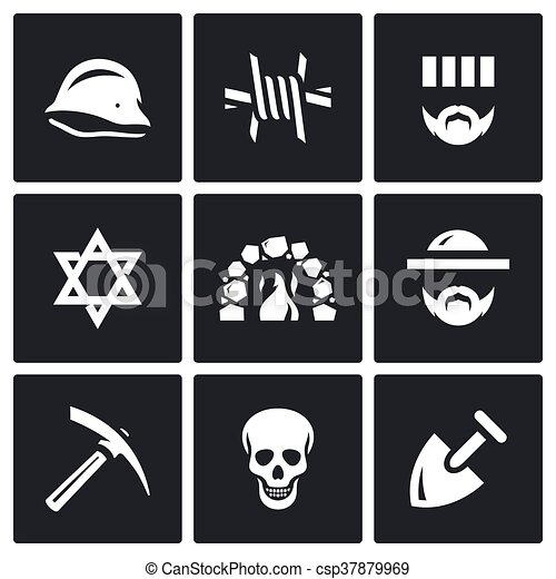 Vector Set Of Concentration Camp Icons German Helmet Barbed Wire