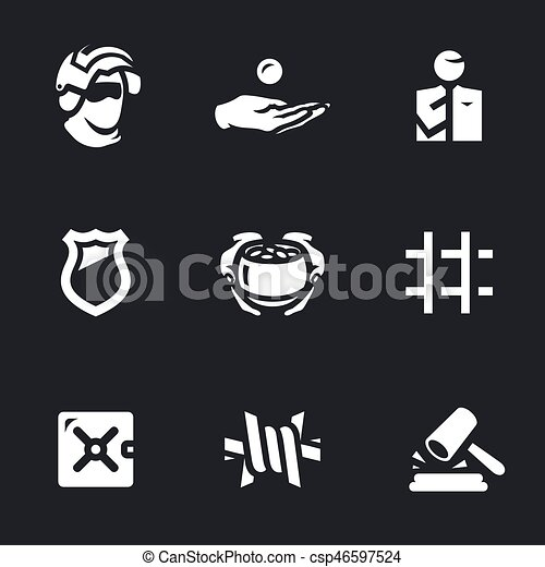 Vector Set Of Corruption And Punishment Icons Vector Illustration