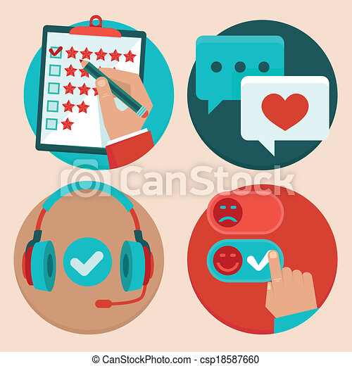 Vector set of customer service in flat style - csp18587660