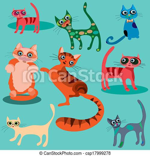 Vector set of cute cartoon cats. - csp17999278