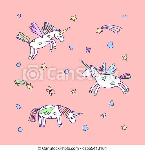 Vector Set Of Cute Cartoon Unicorn Illustration Unicorns