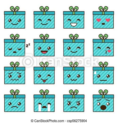 vector set of cute kawaii emoji vector set of cute present kawaii