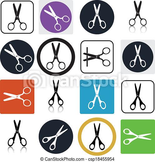 vector set of cutting scissors icons - csp18455954
