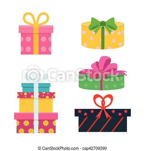 Vector Set Of Different Gift Boxes Flat Birthday Design Vector Set