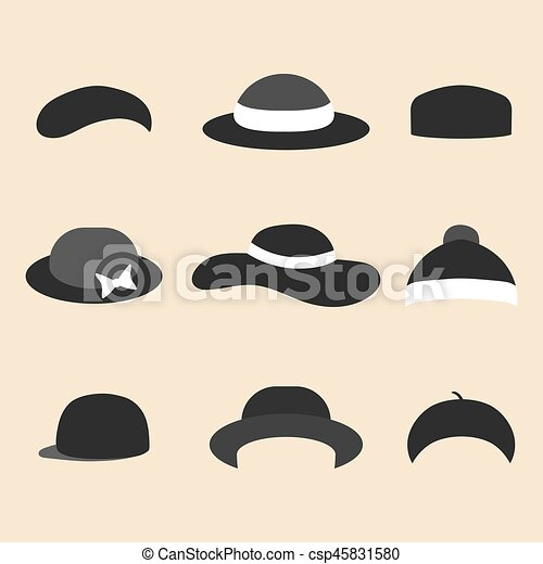Vector set of different hat icons in trendy flat style. - csp45831580
