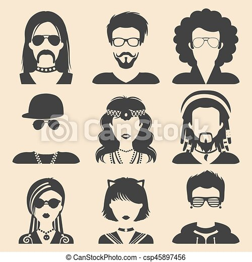 Vector set of different subcultures man and woman app icons in flat style. Goth, raper etc. web images. - csp45897456