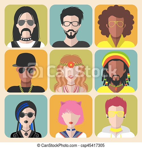 Vector set of different subcultures man and woman app icons in trendy flat style. Goth, raper, hippy, hipster,raver etc. - csp45417305