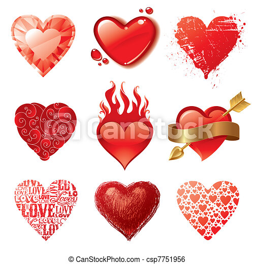 Vector set of different Valentines hearts - csp7751956