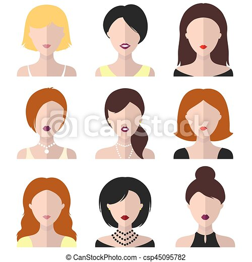 Vector set of different women icons in flat style. - csp45095782