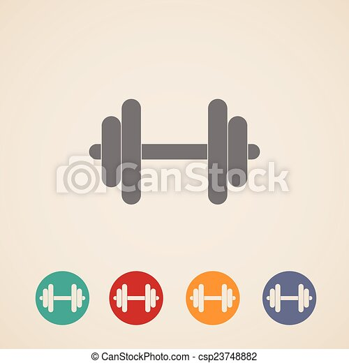 vector set of dumbbell icons  - csp23748882